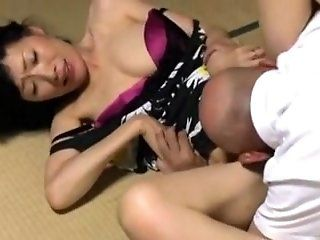 Japanese,Mature Old lady fall in...