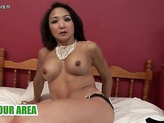 Amateur;Mature;MILF Hot asian milf playing with herself
