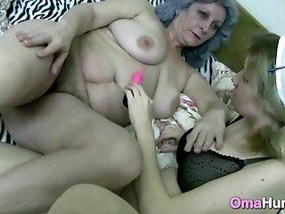 Lesbian;Mature;HD Gray Granny Eats Young Nurse Pussy