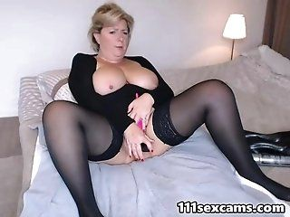Big Tits;Mature;Squirting Busty mature masturbating on webcam