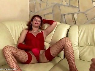 Anal;Amateur;Mature;Creampie;Lingerie;HD Mature lady gets her ass creampied