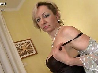 Mature;Blonde Old but Still Hot Grandma and Her Old...