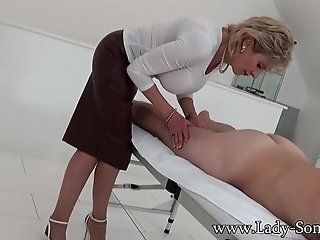 Big Tits;Cumshot;Mature;MILF;Blonde Milf Lady Sonia gives hot handjob...