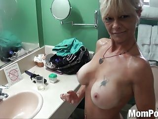 Matures;MILFs;Old+Young;HD Videos;Cougars;Striptease;Stripper;First;Mom POV Ex stripper cougar does first porn BTS