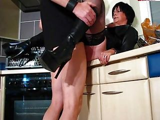 Amateur;Cougars;Lingerie;Matures;MILFs;Boots;Kitchen;Leather;Leather Boots;Hot Kitchen Hot Cougar In Leather and Boots Gets...