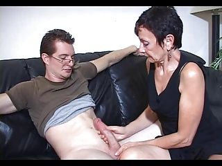 Handjobs;Matures;Old+Young;Big Cock Mum Marie makes his big cock cum