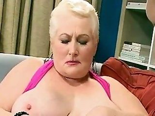 Mature,Grannies,Big Tits,BBW,Hardcore,Stockings Big-titted old chubby got her twat...