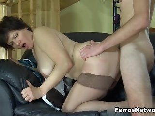 Hardcore,Mature,Stockings,Brunette Elsa is a big meaty mama maid with a...