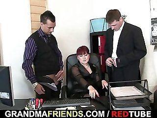 Group;Mature;Facials;Redhead Mature office...