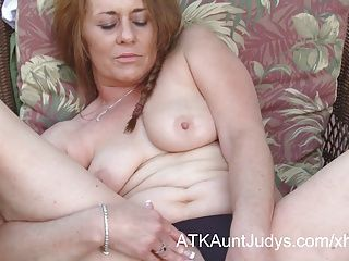 Amateur;Big Boobs;Masturbation;Matures;MILFs;HD Videos;Outdoor;Mother;Outside;Outdoors;Solo;Her Pussy;Fingers;Pussy;Aunt Judy's Cristine Ruby fingers her pussy...