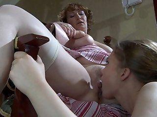 Lesbian,Mature,Stockings,Cunnilingus,Strapon,Big Tits Flo and Alana the...