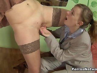 Lesbian,Mature,Stockings,Cunnilingus,Fingering,Strapon Watch it or your...